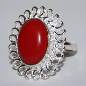 NWOT Silver and Red Coral Ring